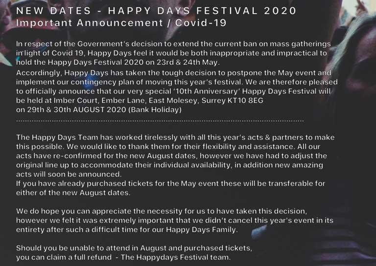 Happy Days Covid-19 Update